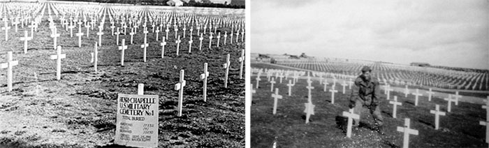 Left: Partial view of Henri-Chapelle Cemetery No. 1, end September, early October 1944. Right: Technician 5th Grade George W. Sekerak, 35533992, at work in the Henri-Chapelle Cemetery.