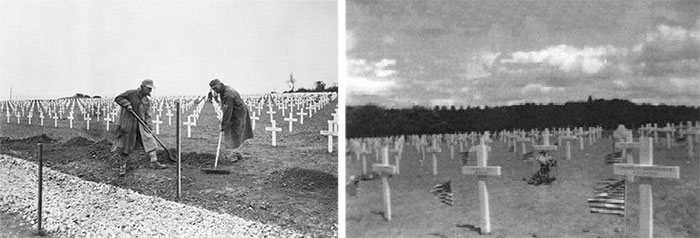 Left: German PW details help landscape the Cemetery that was to become the current Normandy American Cemetery & Memorial. The date is May 28, 1945, and preparations are under way for the celebration of the first Memorial Day overseas. Right: Picture of Fosses-la-Ville Cemetery taken on Memorial Day, May 30, 1945.