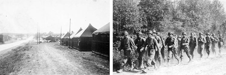 Left: Partial view of Camp Sutton, Monroe, North Carolina, where the 603d Quartermaster Graves Registration Company was activated January 30, 1943. Right: Field exercises held at Camp Sutton, North Carolina. While stationed at Camp Sutton, the 603d QM GR Co took part in many exercises; this particular picture was taken during one of the many hikes.