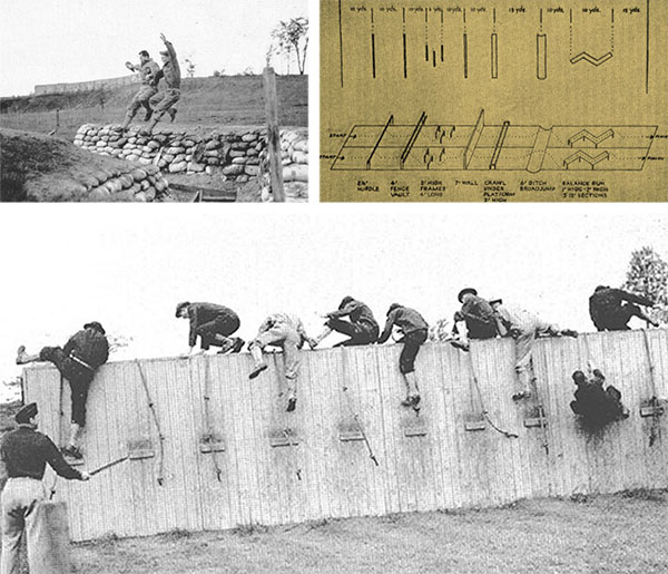 Aspects of the Training Program conducted at Camp Sutton, North Carolina. Top left: One of the exercises while going through the Obstacle Course was jumping a ditch. Top right: Vintage illustration of a typical Obstacle Course in use during World War Two. Bottom: One of the exercises involved wall scaling.