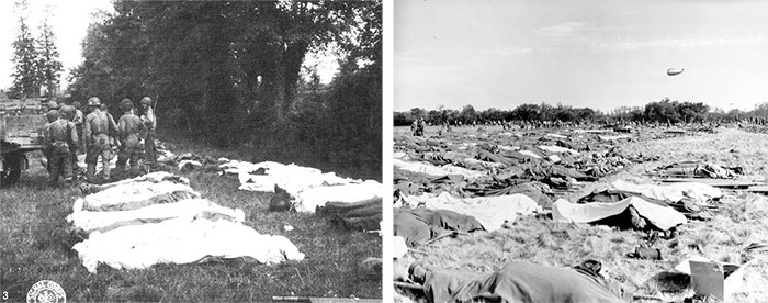 Left: Partial view of temporary Cemetery at Blosville, June 8, 1944. Right: Omaha Beach Collection Point, June 9, 1944. Covered dead bodies on stretchers are awaiting final processing, prior to temporary burial.