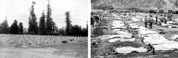 Left: Temorary Cemetery set up at La Cambe, June 10, 1944. Right: Omaha Beach Collection Point, June 12, 1944. Processed dead are being prepared for temporary burial.