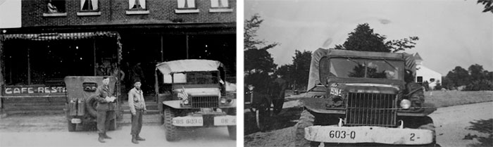 Left: Headquarters vehicles of the 603d QM GR Co during a short mission into Holland. Right: One of the 603d QM GR Co's Dodge Weapons Carriers in Belgium.