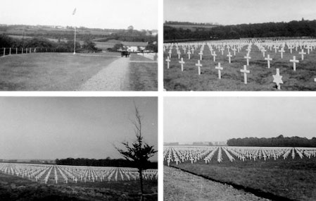 Different views of Fosses-la-Ville Cemetery, Belgium, pictures taken in fall of 1944.