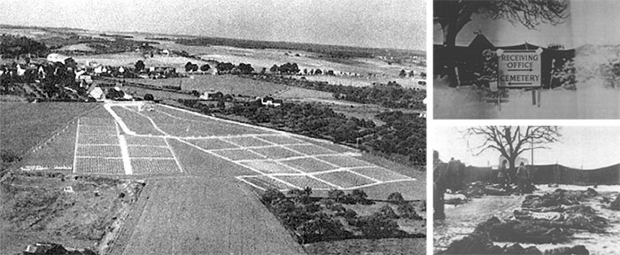 Left: Aerial view of Fosses-la-Ville Cemetery, opened September 8, 1944. Top Right: Entrance sign at Fosses-la-Ville Cemetery, mid-September 1944. Bottom Right: Burial operations conducted at Fosses-la-Ville, around September 1944.