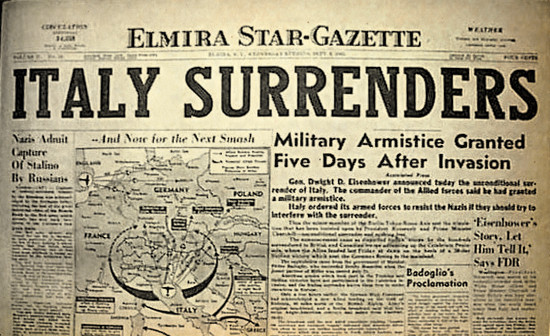 Vintage newspaper Elmira Star-Gazette (Elmira-New York) dated September 8, 1943, announcing the surrender of Italy, which now sided with the Allies as a co-belligerent force.