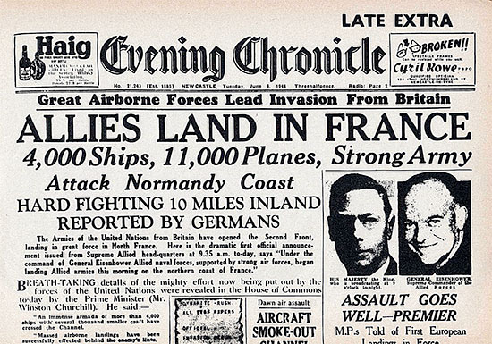 "Front page of the British ""Evening Chronicle"" dated Tuesday, June 6, 1944, announcing the Allied Landings in France."