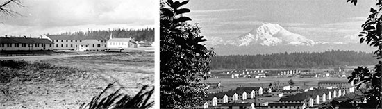 Different views of Fort Lewis, Tacoma, Washington, the next station of the 603d QM GR Co, where the organization further trained and the men took the Physical Fitness Test. This post would become the unit's last station in the ZI prior to receiving final Alert Orders for movement overseas. From L to R: General view of Fort Lewis still under partial construction. Another view of Fort Lewis with Mount Rainier in the background.
