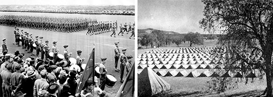 Fort Ord, Monterey, California, where the 595th Ambulance Company, Motor (Separate) was activated 15 September 1943. Left: Large formation on the parade grounds, with troops marching and band ready. Right: Enlisted Men's bivouac area.