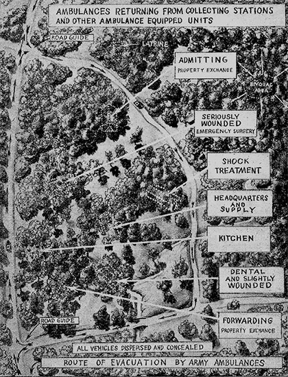 """Interesting copy of original Chart No. 174 """"Arrangement of Clearing Station"""", as illustrated in the """"Intructors' Guide for Medical Department Mobilization Training 8-101"""", dated 8 November 1943, published by the """"Medical Field Service School"""", Carlisle Barracks, Pennsylvania, January 1944."""