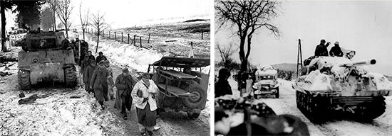 December 1944 – January 1945, winter scenes taken during the Battle of the Bulge in Belgium and the Grand-Duchy of Luxembourg. Left: 1/4-ton ambulance-jeep with litters. Right: 3/4-ton ambulance in the background.