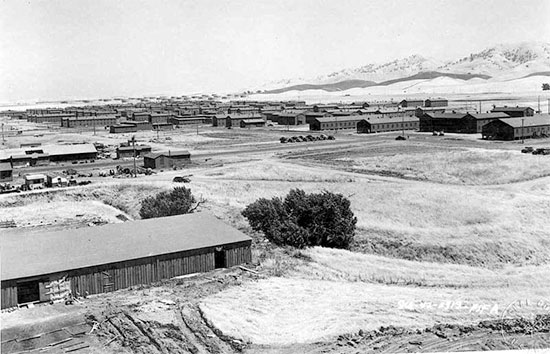 Partial view of the barracks at Camp Stoneman, Pittsburg, California, where the 24th Field Hospital staged prior to overseas movement. The unit remained at Camp Stoneman from May 16, 1943, to June 7, 1943. Additional training exercises were conducted at the Post such as: Abandon Ship Drill, Dry Land Ship Training, Gas Chamber, as well as Obstacle and Infiltration Course.