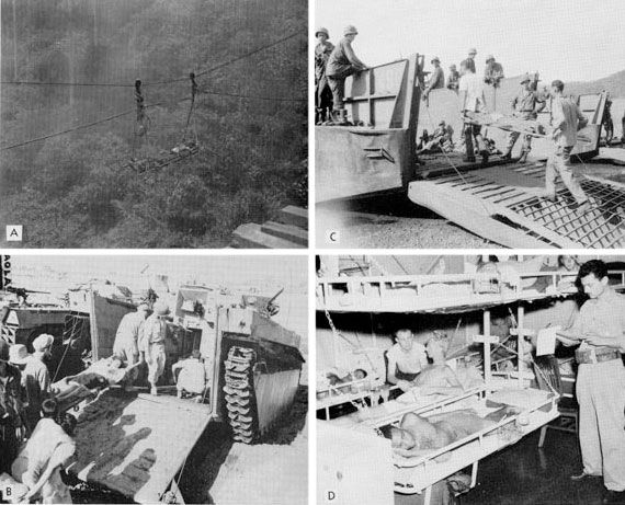 Methods of evacuation in the Southwest Pacific Area, 1945. A. Litter carry over deep ravine by cables. B. Amphibious tracks (Buffalos) C. Landing craft D. A Hospital Ship
