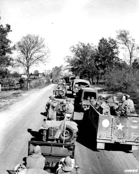 Military convoy during the 1942 Second United States Army Tennessee Maneuvers.