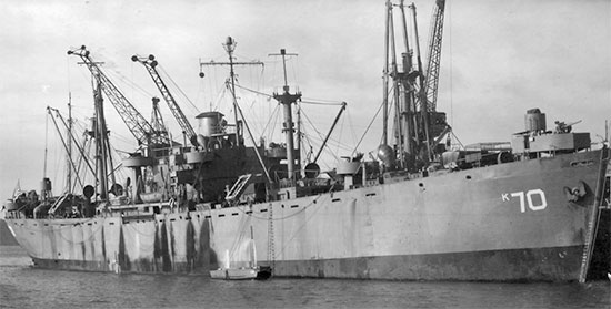 Illustration of USS Crater, the Troop Transport that carried elements of the 24th Field Hospital from New Georgia to Guadalcanal March 7-8, 1944.