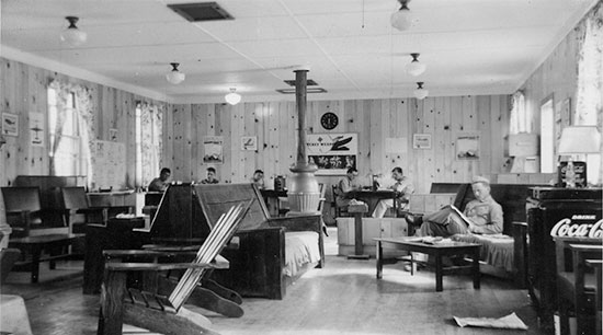 Partial view of the Enlisted Men's Dayroom at Camp White, Medford, Oregon. This was the Post where the 24th Field Hospital was activated August 19, 1943 and where the organization was stationed until May 15, 1943.