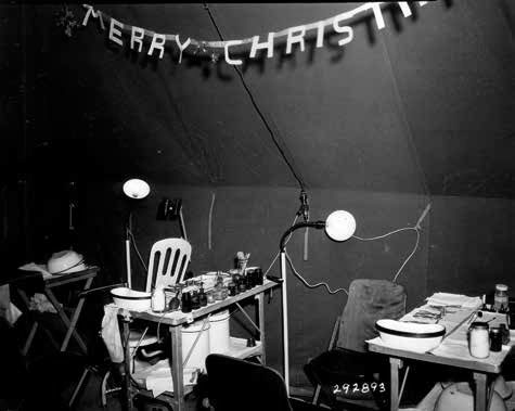 Eye, Ear, Nose, Throat Clinic (EENT) of the 12th Evacuation Hospital, Camarmarthen, Wales, United Kingdom, Christmas Eve, December 24, 1943.