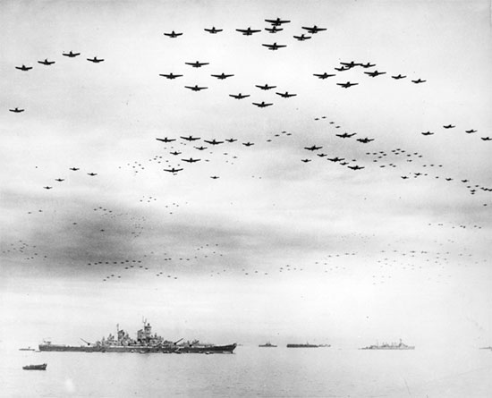 September 2, 1945; impressive number of US fighter planes over the battleship USS Missouri during the Japanese Surrender ceremony.