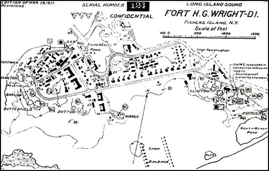 Layout map of Fort Horatio G. Wright, Fisher's Island, New York, where the 12th and 19th Evacuation Hospitals were combined in 1942 to form a single unit.