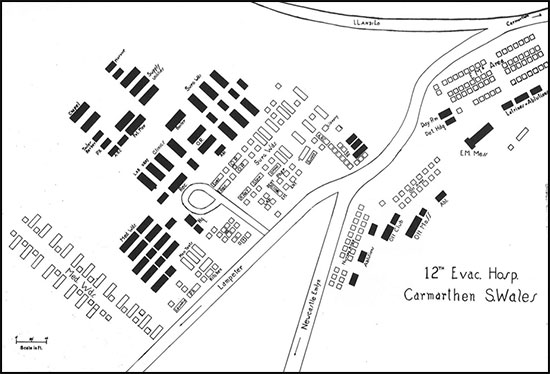 Map illustrating the general layout of the 12th Evacuation Hospital, Carmarthen, Wales, United Kingdom.