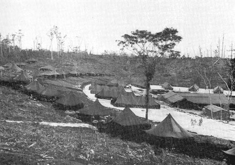 Illustration showing the installations of the 24th Field Hospital on New Georgia, October 27, 1943.