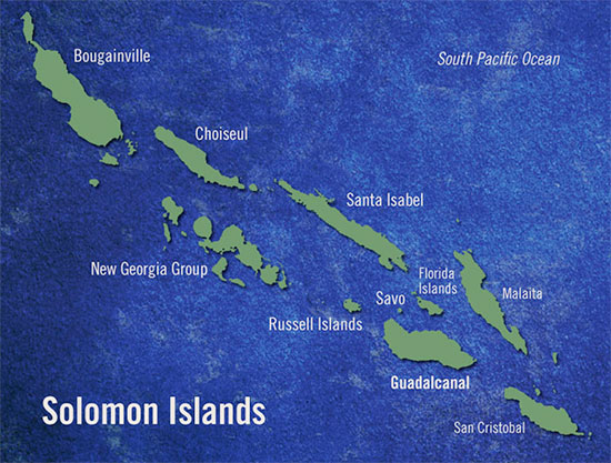 Map illustrating the many islands of the Solomons group, where the 24th Field Hospital served.