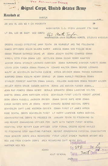 "Copy of Activation Order under the form of a ""priority message"", dated January 7, 1942, ordering a number of Officers to proceed to Fort Benning, Georgia, and report for duty to the Commanding Officer of the 21st General Hospital (the unit was activated January 12, 1942)."
