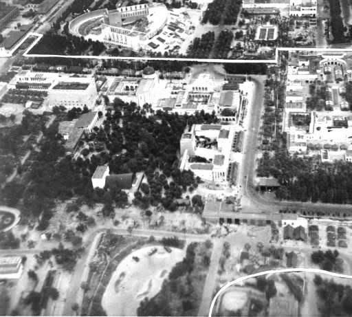 Aerial view of the 21st General Hospital during its stay in the Naples-Caserta area (the Mostra Fairgrounds Medical Center), where the organization was established from December 29, 1943 to September 26, 1944.