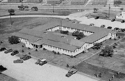 Partial aerial view of Camp Bowie, Brownwood, Texas, where the 10th Field Hospital was activated  6 July 1942. The site was an Armored Division Camp with a total acreage of 116,264 and a troop capacity for 2,237 Officers and 43,247 Enlisted Men.