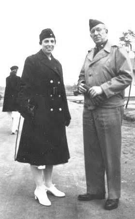 Photograph of Chief Nurse,  First Lieutenant Lucille S. Spalding, ANC, and Commanding Officer, Lieutenant Colonel Lee D. Cady, MC, 21st General Hospital, while training at Fort Benning, Columbus, Georgia, in February 1942.