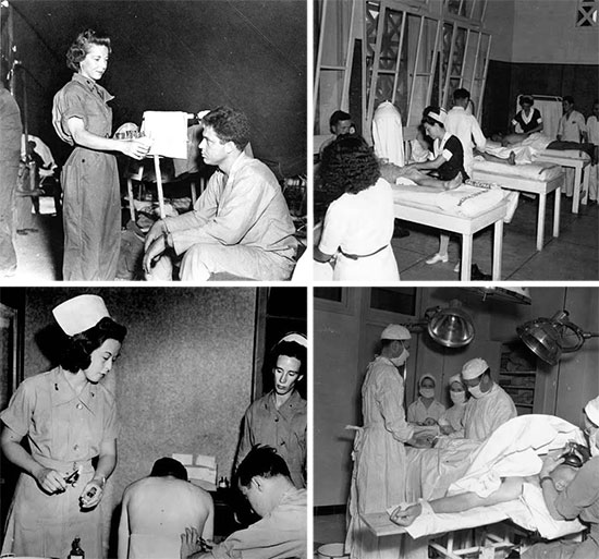 Different aspects of medical activities at the Sidi Bou Hanifia resort, with illustrations taken in June-July 1943. Second Lieutenant Carolyn Klingle, ANC, tends an unidentified patient in Sidi Bou Hanifia. Scene depicting the Physiotherapy Room at Sidi Bou Hanifia. Thoracentesis treatment of a patient. Operating Room in action.