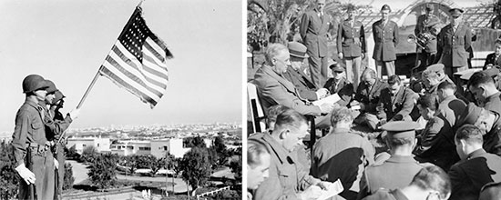 Allied Conference, Casablanca, French Morocco 14-24 January 1943. Left: US Army Color Guard. Right: President Franklin D. Roosevelt (1882-1945) and British Prime Minister Winston L. Churchill (1874-1965) during one of the many press conferences and interviews in Casablanca.