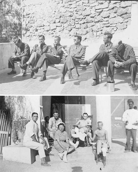 Top: Officers relax in the sun at Bou Hanifia, Algeria, 1943. From L to R: Captain John H. Wedig, Captain Dan W. Myers, Major Lewis H. Oden, Jr., Major Sim F. Beam, 1st Lieutenant Glen P. Kallenbach, Major Ernest P. Buxton, Jr.  Bottom: Patients' Ward, Bou Hanifia, Algeria. 2d Lieutenant Irene P. Steplyk taking a break with patients, 1943.