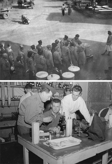 Top: Officers and Nurses Mess at Termini di Agnano, Naples, Italy, December 1943. Bottom: Research Laboratory, Naples, Italy. From L to R: Lt. Colonel Harry Agress, Tec 4 Thomas F. Burke, Tec 4 Kenneth F. Miles, March 1944.