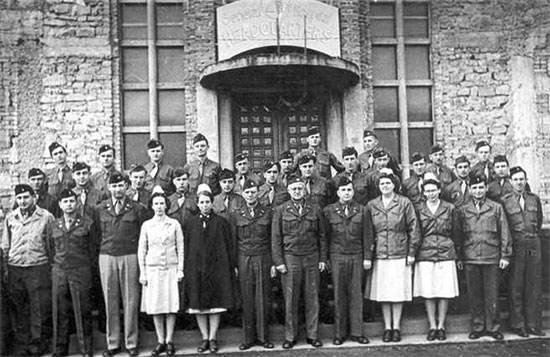 Main Headquarters staff of the 21st General Hospital, Mirecourt, France, April 12, 1945.