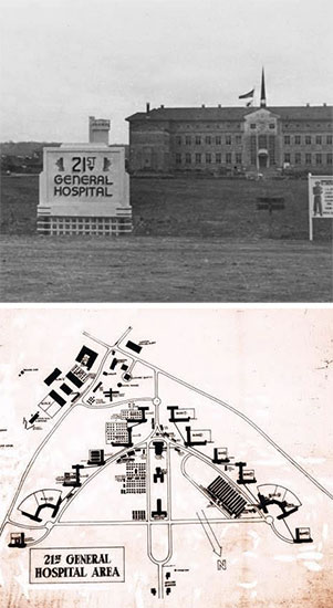 Administration building and signpost, 21st General Hospital, Mirecourt, France, the organization's last overseas operation. Vintage map illustrating the Hospital's area.