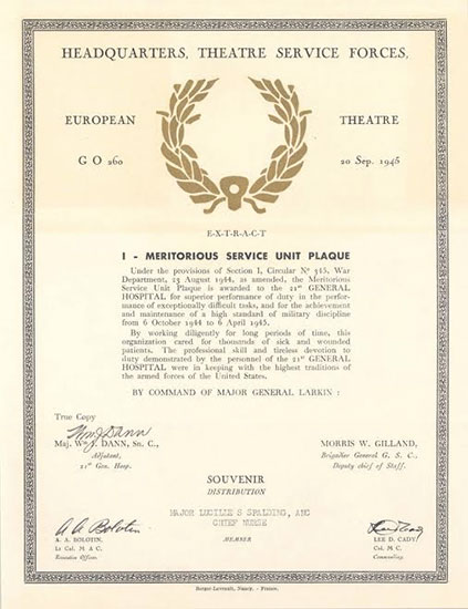 Copy of Meritorious Service Unit Plaque document (souvenir distriubution)  awarded to the 21st General Hospital, September 20, 1945.