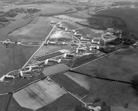Aerial view of Mirecourt, France (Hôpital Psychiatrique de Ravenel), where the 21st General Hospital was established from October 21, 1944 to September 12, 1945.