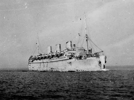 Photograph illustrating the S/S Monarch of Bermuda, the troopship that carried staff and personnel of the 21st General Hospital to North Africa November 27, 1942.