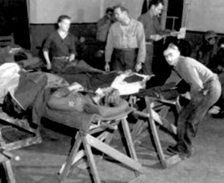 Partial view of the post-operative ward of the 10th Field Hospital, somewhere in France or Germany early 1945.