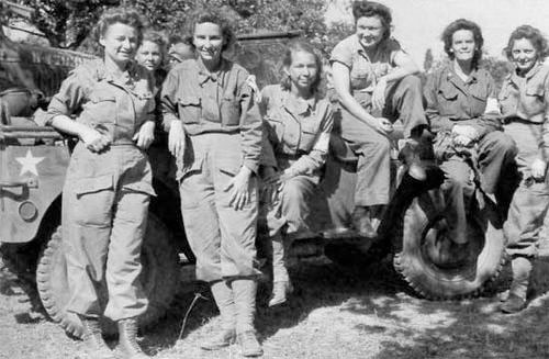 August 1944, Southern France. Group of ANC Officers of the 10th Field Hospital (400-bed capacity) pose in front of a 1/4-ton truck. The First and Third Hospitalization Units (attached to Alpha Attack Force) landed around 1600 hours, 15 August 1944, at Pampelonne and Cavalaire-sur-Mer respectively. The Second Hospitalization Unit (attached to Delta Attack Force) landed about noon, 15 August 1944, at St. Tropez.