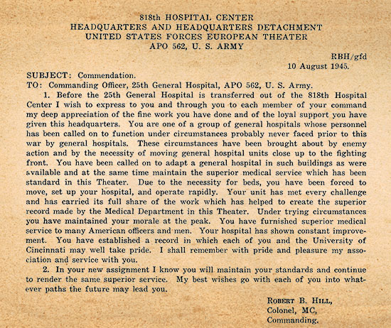 Official Commendation dated August 10, 1945, and signed by Colonel Robert B. Hill, CO 818th Hospital Center, USFET, APO # 562.