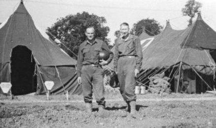 From L to R: Picture illustrating the Commanding Officer of the 25th General Hospital, Colonel Joseph P. Russell, MC, and his Executive Officer Lt. Colonel Herman J. Nimitz, MC, during the unit's stay at the Lison medical concentration center, France, August-November 1944.