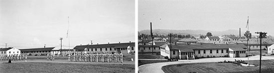 Left: Reveille formation and Flag raising, Nichols General Hospital, Louisville, Ken,tucky. Right: Partial view of wood barracks and offices; Nichols General Hospital, Louisville, Kentucky.