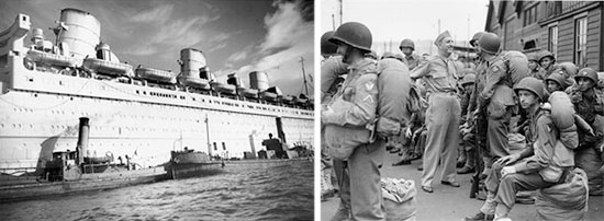 eft: Partial view of RMS Queen Mary in her wartime livery. Picture taken in a British port during World War Two. Right: Partial scene illustrating arrival of US troops at Gourock, Scotland in 1943. Between May 1942 and December 1944, 339 troopships arrived in the Clyde from the United States. They brought with them 1,319,089 GIs to the United Kingdom. Both Gourock and Greenock were very busy ports throughout the war.
