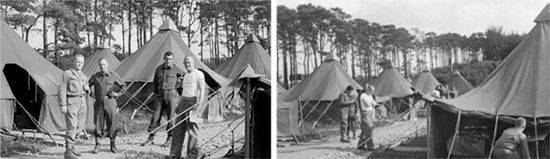 25th General Hospital set up at Tidworth, Wiltshire, England, in June-July 1944. From L to R: Captain James R. Mack; Captain Max Haas; Captain Dudley A. Wolfe, and Lt. Colonel Edward C. Elsey. Another aspect of the same picture illustrating the Officers and M-1934 pyramidal tents.