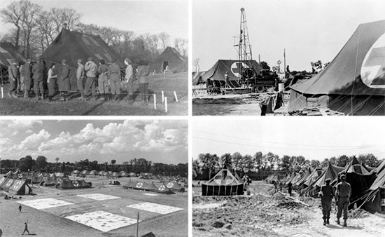 Some aspects of the 25th General Hospital while established at Lison, France, during the period August-November 1944. Top Left: Medical and Army Nurse Corps Officers form a line for chow. Top Right: Drilling for water at the medical concentration center. Bottom Left: Partial view of the general setup at Lison. Bottom Right: Row of tentage in the mud.