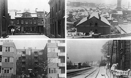 Temporary setup of 25th General Hospital at Liège, Belgium, during January-February 1945. Top Left: Schoolhouse where the organization headquarters and administration were temporarily housed.      Top Right: Doctors' and Nurses' quarters in Liège. Bottom Left: Apartment buildings where the Enlisted Men were temporarily quartered. Bottom Right: Train tracks in the snow, Morlanwez, Belgium.