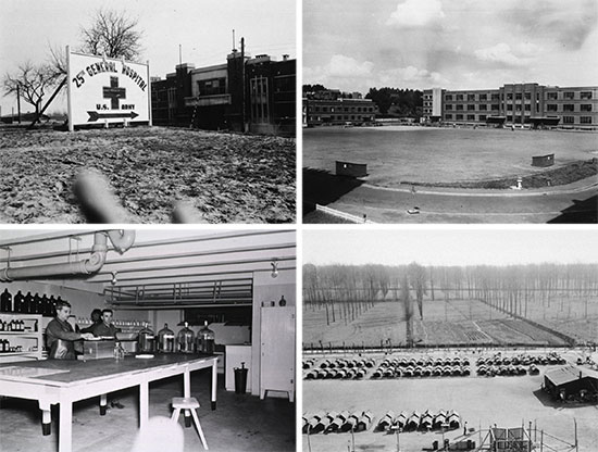 Top left: General entrance and sign indicating the 25th General Hospital, when established at the former Belgian military barracks (5-buildings complex), at Tongres, Belgium. Top right: Partial view illustrating the athletic and parade grounds in front of the 25th General Hospital, Tongres, Belgium. Bottom left: Interior view of the 25th General Hospital's pharmacy, Tongres, Belgium. Bottom right: View of the enemy PW enclosure near the military barracks complex occupied by the 25th General Hospital, while operating at Tongres, Belgium.