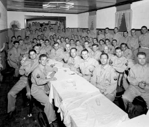 NCO dinner party held after completing the 10-day bivouac at Fort Knox, Louisville, Kentucky during summer of 1943.